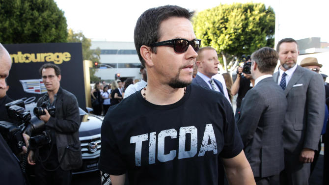 """Mark Wahlberg seen at Warner Bros. Premiere of """"Entourage"""" held at Regency Village Theatre on Monday, June 1, 2015, in Westwood, Calif. (Photo by Eric Charbonneau/Invision for Warner Bros./AP Images)"""