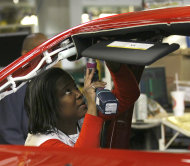 <p>               An auto worker assembles parts on the 2013 Dodge Dart at the Chrysler Plant in Belvidere, Ill., Thursday, Feb. 2, 2012. Sergio Marchionne, Chairman and CEO Chrysler Group, announced that Chrysler will add a third shift at the Belvidere Plant to begin production of the Dart. The unemployment rate fell for the fifth straight month after a surge of January hiring, a promising shift in the nation's outlook for job growth. (AP Photo/Charles Rex Arbogast)