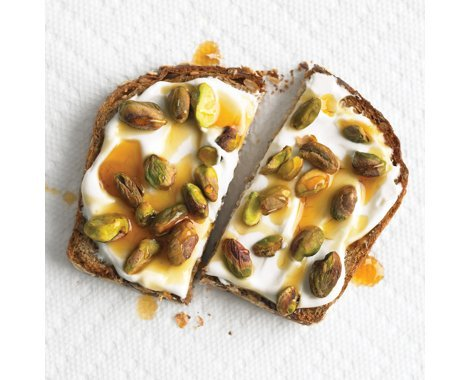 Whole-Grain Toast with Yogurt and Pistachios