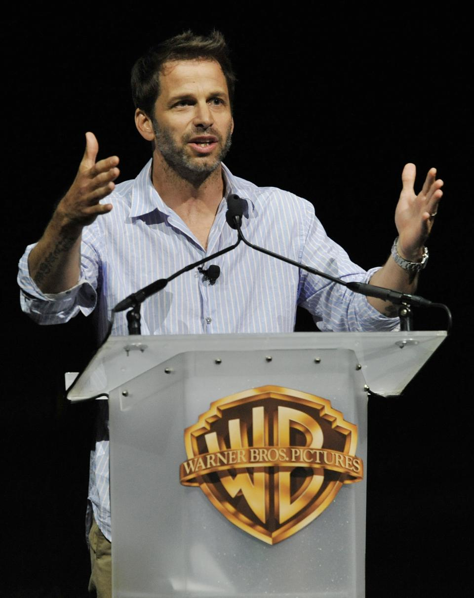 "Zack Snyder, director of the forthcoming film ""Man of Steel,"" addresses the audience during the Warner Bros. presentation at CinemaCon 2013 at Caesars Palace on Tuesday, April 16, 2013 in Las Vegas. (Photo by Chris Pizzello/Invision/AP)"