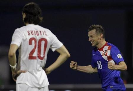 Croatia's Ivica Olic celebrates after scoring against Serbia during their 2014 World Cup qualifying soccer match at Maksimir stadium in Zagreb