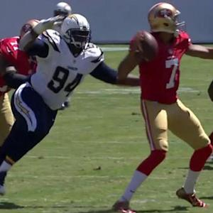 San Diego Chargers defensive end Corey Liuget forces fumble
