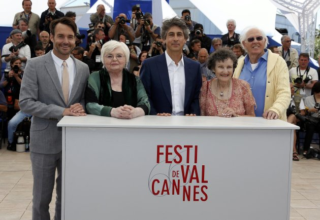 "Director Alexander Payne and cast members pose during a photocall for the film ""Nebraska"" during the 66th Cannes Film Festival"