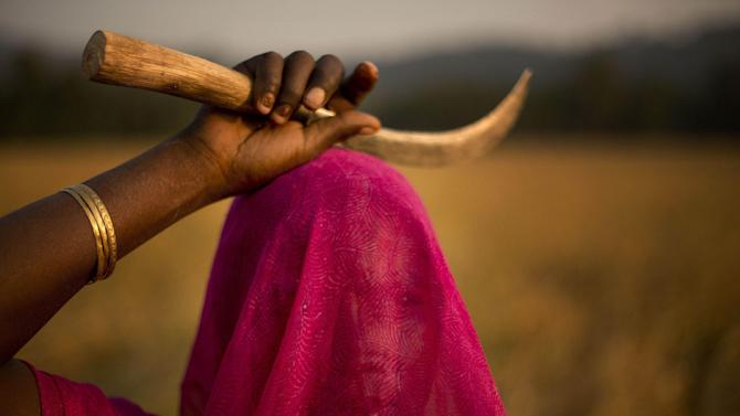 AP10ThingsToSee - A veiled Indian woman talks to another as they harvest paddy at a rice field on the outskirts of Gauhati, India, Thursday, Nov. 20, 2014. About 60 percent of Indians work in the agriculture sector that contributes 16 to 20 percent of the nation's gross domestic product. (AP Photo/Anupam Nath)
