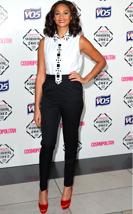 One of our best dressed of the evening, BGT judge Alesha Dixon went for the androgynous look with taiilored black trousers and a quirky take on a tie. We love! Copyright [Getty]