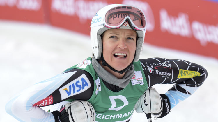 United States' Julia Mancuso reacts during the women's downhill training at the Alpine skiing world championships in Schladming, Austria, Thursday, Feb.7,2013. (AP Photo/Kerstin Joensson)