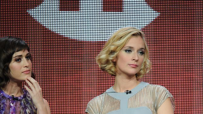 """From left, actors Lizzy Caplan and Caitlin Fitzgerald participate in the """"Masters of Sex"""" panel at the 2013 Showtime Summer TCA Press Tour at the Beverly Hilton Hotel on Tuesday, July 30, 2013 in Beverly Hills, Calif. (Photo by Frank Micelotta/Invision/AP)"""