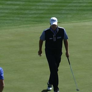 Steve Stricker drops in a 24-footer for birdie at Waste Management
