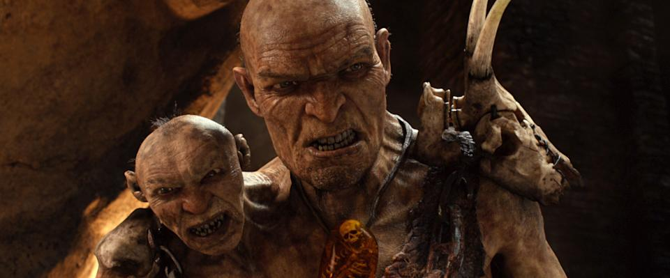 "This film image released by Warner Bros. Pictures shows This film image released by Warner Bros. Pictures shows Gen. Fallon, voiced by Bill Nighy, right, and Fallon's Small Head, voiced by John Kassir, in a scene from ""Jack the Giant Slayer."" (AP Photo/Warner Bros. Pictures)"