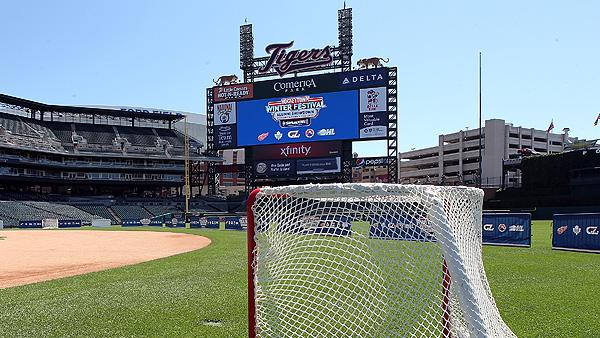 2013 Winter Classic between Toronto Maple Leafs and Detroit Red Wings: A hockey net on the field at Comerica Park in Detroit