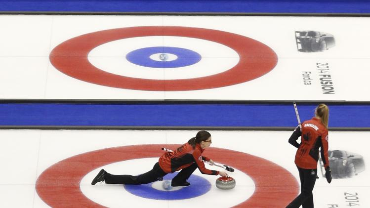 Canada's lead Weagle delivers a stone during her draw against the Czech Republic at the World Women's Curling Championships in St.John