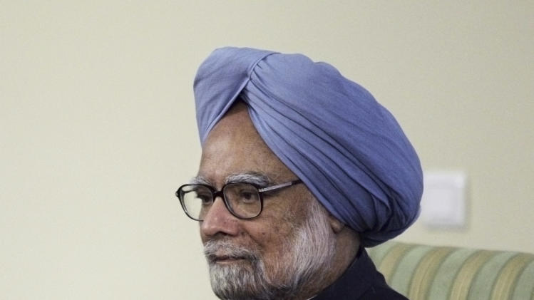 Indian Prime Minister Manmohan Singh, attends a round of talks with Iranian President Mahmoud Ahmadinejad, unseen, in Tehran, Iran, Wednesday, Aug. 29, 2012. (AP Photo/Vahid Salemi)