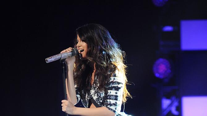 IMAGE DISTRIBUTED FOR MTV - Selena Gomez performs at the close of the 2013 MTV Upfront, on Thursday, April 25, 2013 at the Beacon Theater in New York. (Photo by Scott Gries/Invision for MTV/AP Images)