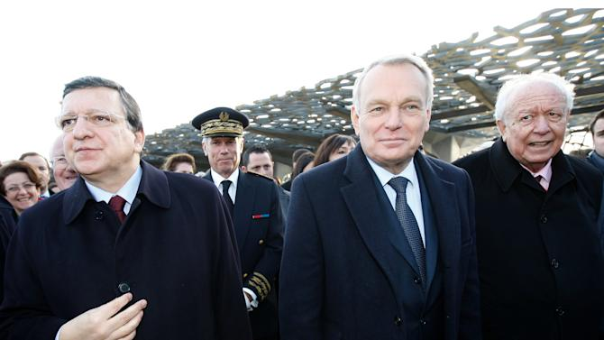 French First Minister Jean-Marc Ayrault, center, visits the MuCem (Museum of Civilisations from Europe and the Mediterranean) with European Commission President Jose Manuel Barroso, left, and Mayor of Marseille Jean-Claude Gaudin, in Marseille, southern France, Saturday, Jan. 12, 2013(AP Photo/Claude Paris, Pool)