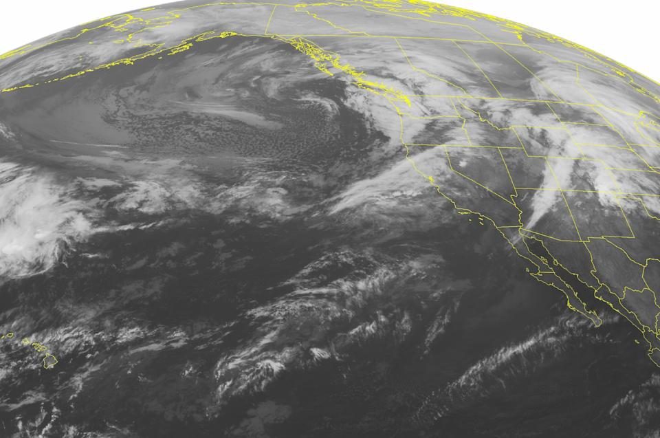 This NOAA satellite image taken Saturday, Dec. 1, 2012 at 01:00 AM EST shows an active pattern of storms with a cold front moving eastward into the Pacific Northwest and northern California bringing rain and heavy mountain snow. A second frontal system over the Northern Rockies with rain and snow showers. (AP Photo/Weather Underground)