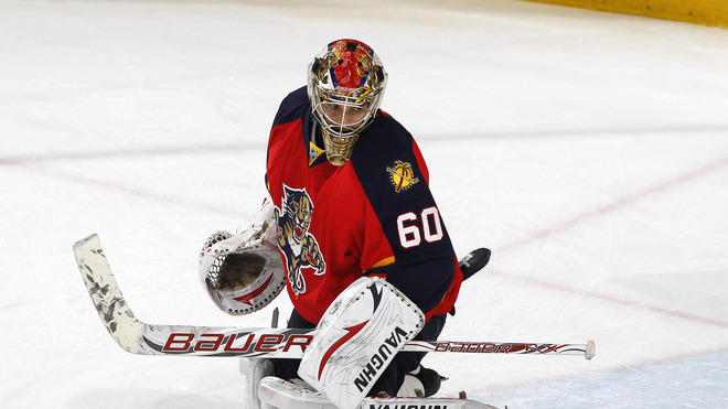 Goaltender Jose Theodore #60 Of The Florida Panthers Warms Up Prior To The Game Against The New Jesey Devils In Game Getty Images