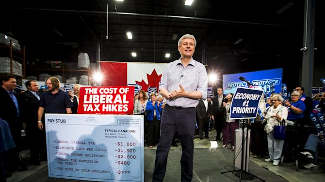 Canada's PM and Conservative leader Harper speaks during a capmaign rally in London