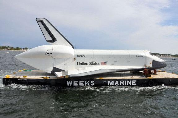 Space Shuttle Enterprise Damaged at Sea as Weather Delays NYC Intrepid Trip