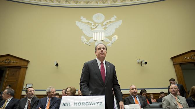 "Michael Horowitz, the Justice Department's inspector general, arrives to testify before the House Oversight and Government Reform Committee a day after he faulted the department for disregard of public safety in ""Operation Fast and Furious,"" the Bureau of Alcohol, Tobacco, Firearms and Explosives' program that allowed hundreds of guns to reach Mexican drug gangs, on Capitol Hill in Washington, Thursday, Sept. 20, 2012. While the IG's report confirmed findings by Congress' investigation of misguided strategies, errors in judgment and management failures in ""Fast and Furious"", it did not find direct fault with Attorney General Eric Holder, who had been directly targeted by Rep. Darrell Issa, R-Calif., the committee's chairman. (AP Photo/J. Scott Applewhite)"