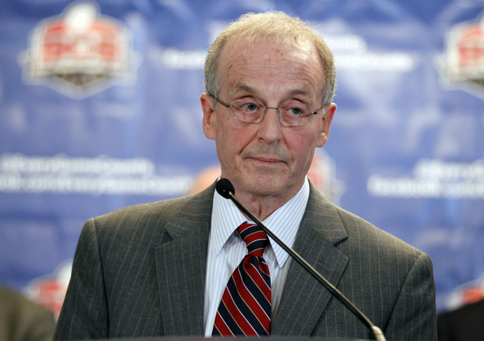 University of Nebraska-Lincoln Chancellor Harvey Perlman speaks during a media availability after a BCS presidential oversight committee meeting, Tuesday, June 26, 2012, in Washington. The committee announced a new post-season format for a four-team playoff for the major college football national championship. (AP Photo/Alex Brandon)