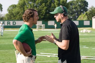 Matthew McConaughey and director Joseph McGinty Nichol on the set of Warner Bros. Pictures' We Are Marshall