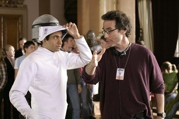 Kal Penn and director Mort Nathan on the set of MGM's National Lampoon's Van Wilder: The Rise of Taj