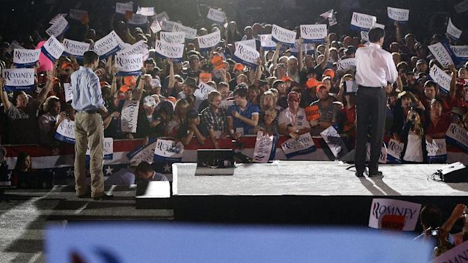 Republican presidential candidate and former Massachusetts Gov. Mitt Romney campaigns with vice presidential candidate Rep. Paul Ryan in Fishersville, Va., Thursday, Oct. 4, 2012. (AP Photo/Charles Dharapak)