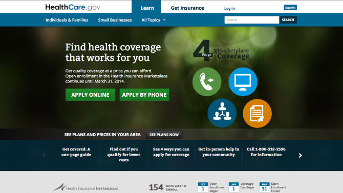 FILE - In this Oct. 28, 2013, file screenshot, the U.S. Department of Health and Human Services' main landing web page for HealthCare.gov. Members of Congress are governing themselves under President Barack Obama's signature law, which means they have great leeway in how to apply it to their own staffs. For lawmakers, it is about a section of the law that may _ or may not _ require them to toss some staffers off of their federal health insurance and into the Affordable Care Act's exchanges. (AP Photo/U.S. Department of Health and Human Services, File)