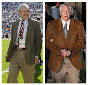 In this photo combo, at left, in an Oct. 8, 2011 file photo, Penn State president Graham Spanier walks on the field before an NCAA college football game in State College, Pa. At right, former Penn State University assistant football coach Jerry Sandusky leaves the Centre County Courthouse in custody after being found guilty of multiple charges of child sexual abuse in Bellefonte, Pa., Friday, June 22, 2012. A potentially explosive report into whether football coach Joe Paterno and other top Penn State officials took steps to conceal that Sandusky was a child molester will be released Thursday _ online for all to see, officials said Tuesday, July 10, 2012. (AP Photo/Gene J. Puskar, File)