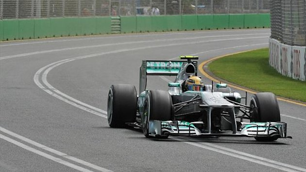 Mercedes driver Lewis Hamilton of Britain powers around the track during the first practice session for the Formula One Australian Grand Prix in Melbourne (AFP)