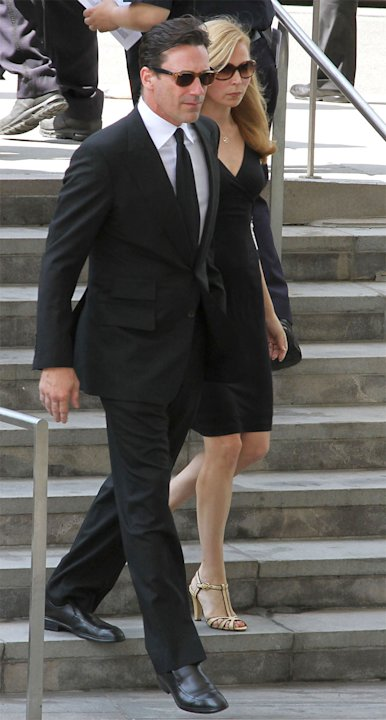 Jon Hamm and Jennifer Westfeldt attend the Nora Ephron Memorial Service on July 9, 2012 in New York City. (Photo by Rob Kim/Getty Images)