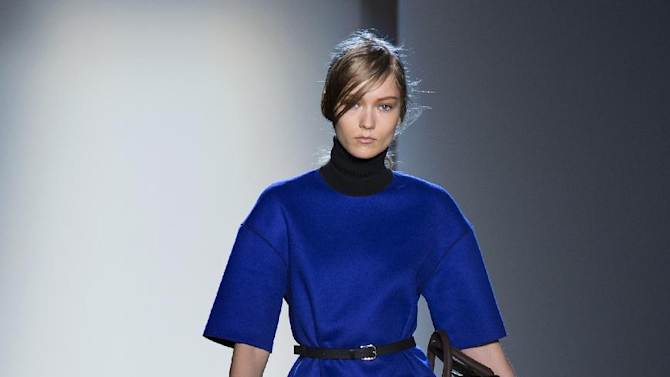A model walks the runway during the Victoria Beckham Fall 2013 fashion show during Fashion Week, Sunday, Feb. 10, 2013, in New York. (AP Photo/Craig Ruttle)