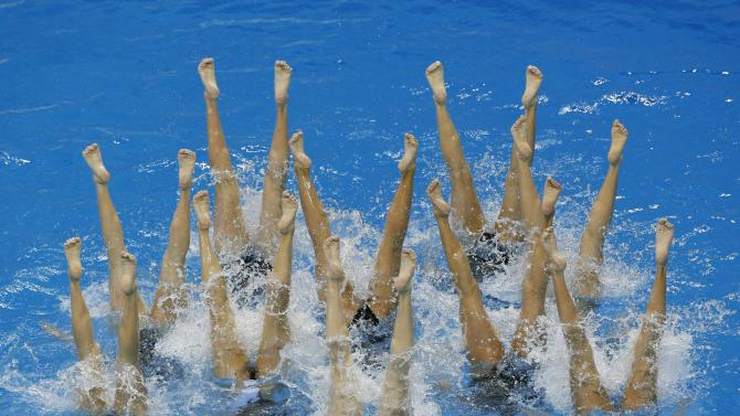 China's team performs in the Teams Free Combination synchronised swimming final during the 17th Asian Games in Incheon