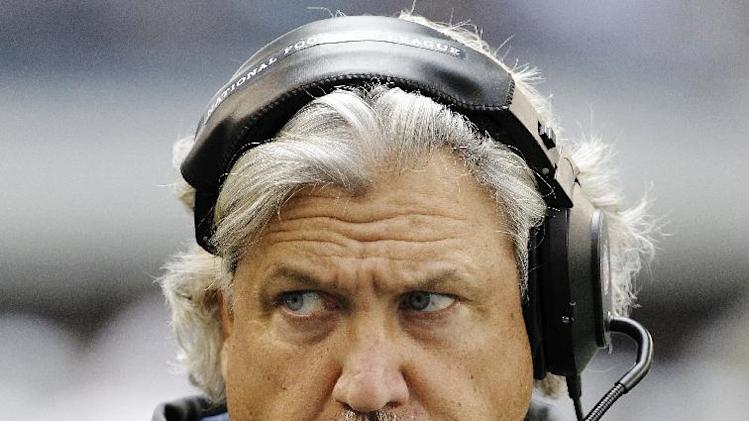 FILE - In this Nov. 18, 2012, file photo, Dallas Cowboys defensive coordinator Rob Ryan appears during the second half of an NFL football game against the Cleveland Browns in Arlington, Texas. Ryan was fired Tuesday, Jan. 8, 2013, after his injury-depleted unit struggled in a pair of season-ending losses that kept the Cowboys out of the playoffs for a third straight year. (AP Photo/Brandon Wade, File)
