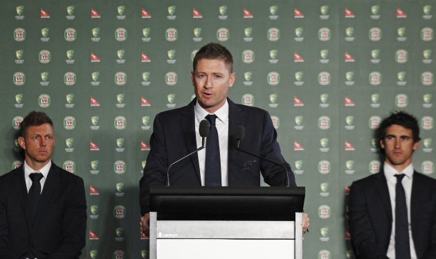 Australia cricket captain Clarke speaks next to team mates Pattinson and Starc during the official team farewell in Sydney