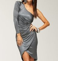 Bebe one shoulder dress, $129.00.