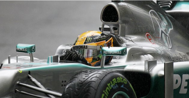 Mercedes Formula One driver Lewis Hamilton of Britain drives during the qualifying session of the Monaco F1 Grand Prix