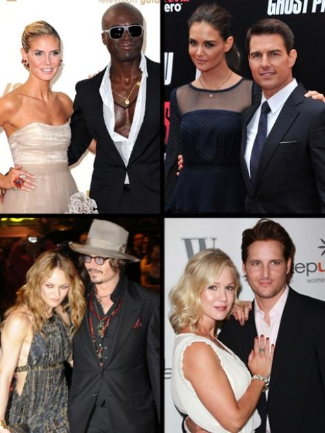 Stars who split in 2012: Heidi and Seal, Katie and Tom, Vanessa and Johnny, Jennie and Peter -- Getty Images