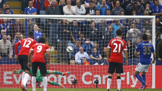Leicester City's Nugent scores a penalty against Manchester United during their English Premier League soccer match at the King Power stadium in Leicester