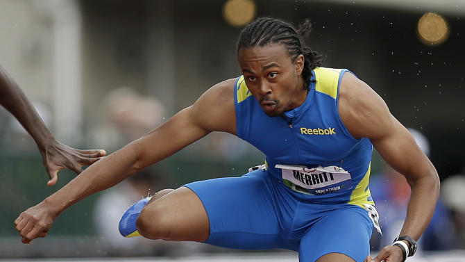 Aries Merritt competes in the semi-finals of the men's 110 meter hurdles at the U.S. Olympic Track and Field Trials Saturday, June 30, 2012, in Eugene, Ore. (AP Photo/Marcio Jose Sanchez)
