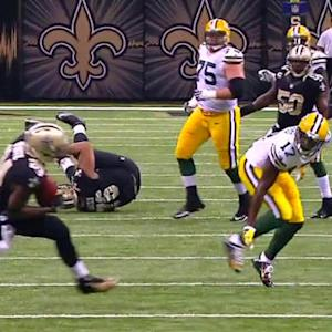 Green Bay Packers quarterback Aaron Rodgers intercepted by New Orleans Saints cornerback Corey White