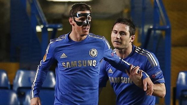 Chelsea's Fernando Torres (C) celebrates his goal with teammate Frank Lampard during their Europa League first leg quarter-final soccer match against Rubin Kazan at Stamford Bridge in London April 4, 2013. REUTERS