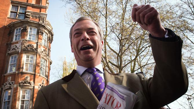 United Kingdom Independence Party (UKIP) leader Nigel Farage arrives in Westminster, London, Friday May 3, 2013, after a successful night in the local council elections. David Cameron's Conservative Party has taken a drubbing in local elections amid a surge of support for right-wing UKIP, an anti-European Union and anti-immigration party. The rise of UKIP adds to pressure on Cameron to staunch a flow of voters from his party ahead of the next general election in 2015 and take a harder line on European reform. (AP Photo/PA, Stefan Rousseau) UNITED KINGDOM OUT  NO SALES  NO ARCHIVE