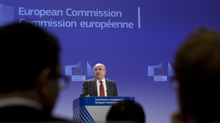 European Commissioner for Competition Joaquin Almunia speaks during a media conference at EU headquarters in Brussels, Wednesday, March 6, 2013. The European Union Commission has fined Microsoft euro 561 million (US dollars 733 million) for breaking the terms of an earlier agreement to offer users a choice of internet browser. (AP Photo/Virginia Mayo)