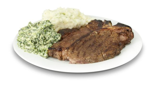Morton's Porterhouse Steak with Mashed Potatoes and Creamed Spinach