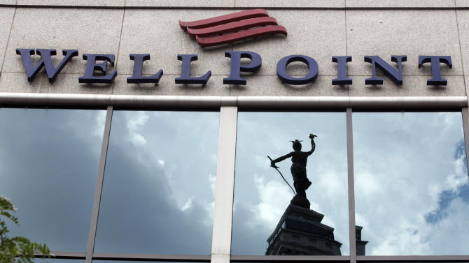 FILE- This July 17, 2012, file photo, shows the corporate headquarters of WellPoint in Indianapolis. WellPoint said Wednesday, Nov. 7, 2012, in the third quarter, it earned $691.2 million, or $2.15 per share. That's up from $683.2 million, or $1.90 per share, in last year's quarter.  (AP Photo/Michael Conroy, File)