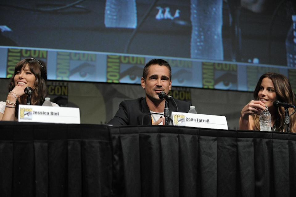 "CORRECTS DATE TO FRIDAY JULY 13 - Jessica Biel, Colin Farrell and Kate Beckinsale attend the ""Total Recall"" panel at Comic-Con on Friday, July 13, 2012 in San Diego, Calif. (Photo by Jordan Strauss/Invision/AP)"