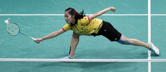 Thailand's Inthanon Ratchanok plays a shot during the women's single match against South Korea's Sung Ji-hyun at the semi-finals of the Sudirman Cup in Kuala Lumpur