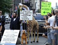 A protestor holds signs against same-sex marriage during the 2012 New York Gay Pride parade in New York. The 43rd-annual parade with more than 500,000 people is part of Gay Pride week