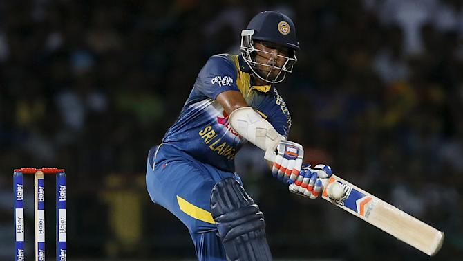 Sri Lanka's Siriwardana hits a six during their second Twenty20 cricket match against Pakistan in Colombo